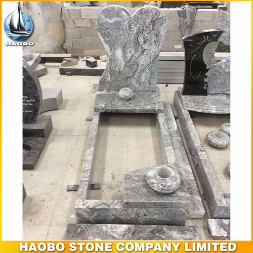 Viscont White Granite Heart Shape Headstone For Sale - Heart Shape Headstone For Sale made in Viscont White granite.