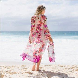 Swim cover ups with digital print - Digital printed swim cover ups in poly and Georgette