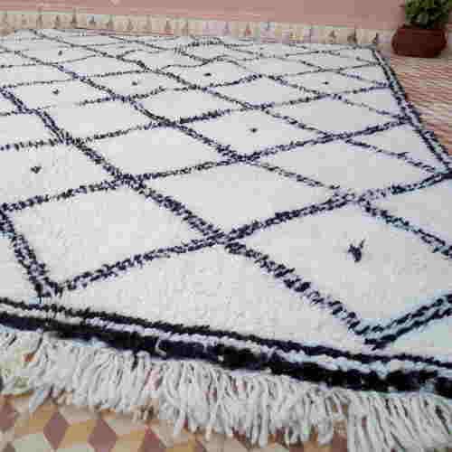 Tapis berbère Beni Ouarain du Maroc, laine naturelle épaisse