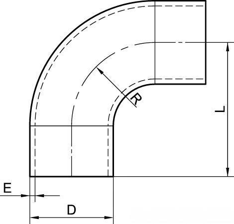 61212 COUDE À 90° 1D AVEC PARTIES DROITES - Accessoires de tuyauterie SMS