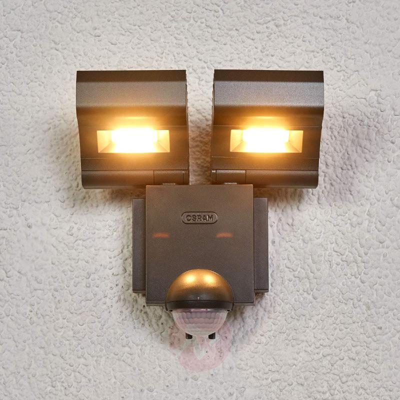 LED double spotlight Noxlite Lum w. sensor, 3,000K - Wall Lights with Motion Sensor