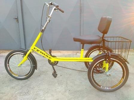 """Трехколесный велосипед """"Атлет с корзинкой""""  - Корзинка вместо грузовой платформы облегчает велосипед"""