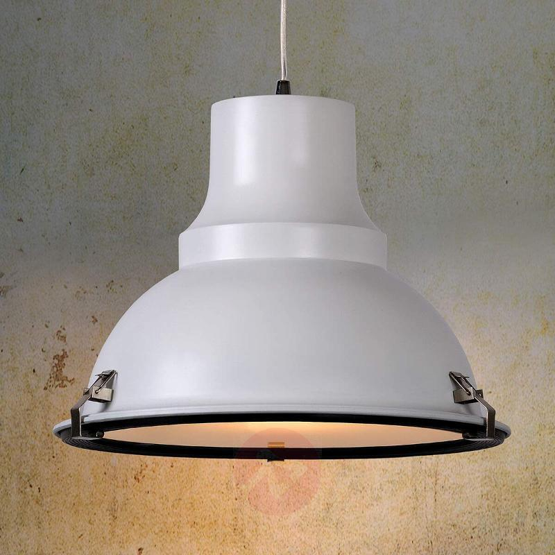 White FACTORY hanging light with industrial design - Pendant Lighting
