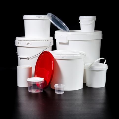 Seaux plastiques : seaux cylindriques - Dimensions et contenances possibles : De 133 mm à 378 mm de diamètre De 1.18 à