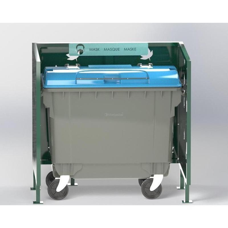 Cache Poubelle Conteneur Automne En U Recyclage Masque - Abri cache double poubelle