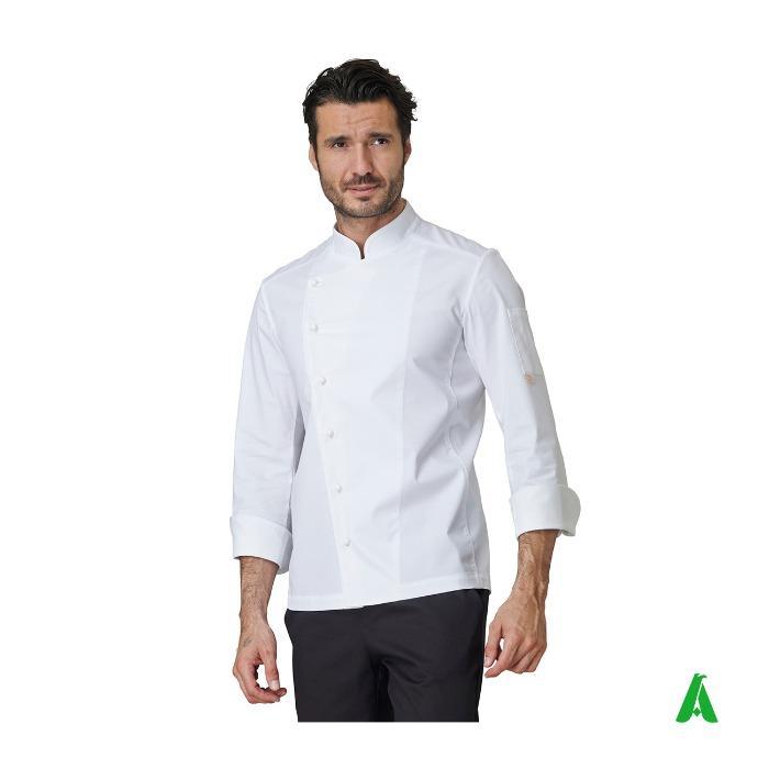 Giacca da chef elasticizzata con logo - Giacca da cucina con collo coreana maniche lunghe personalizzabile