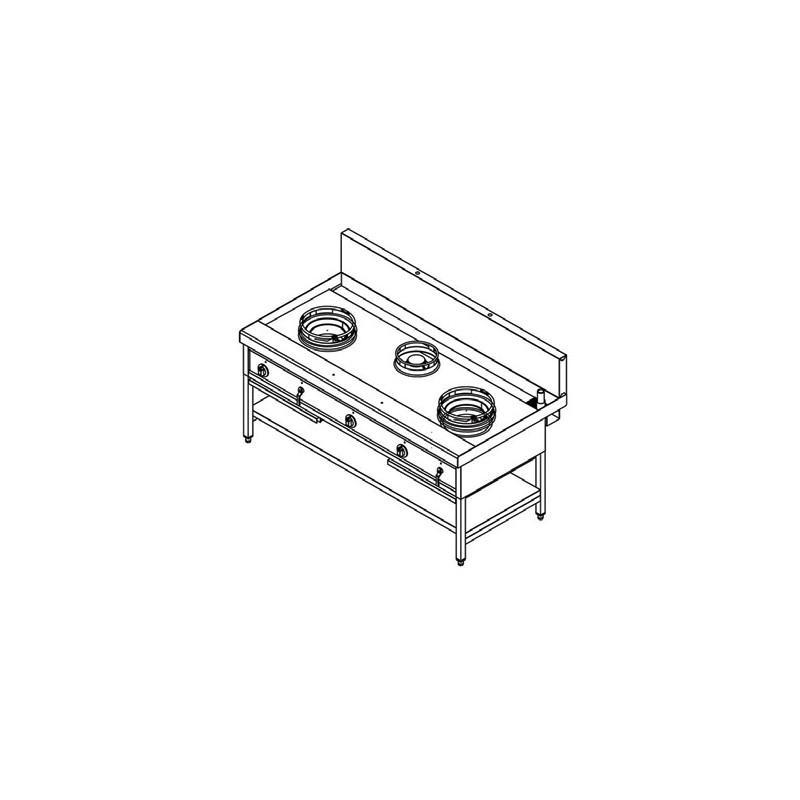WOK RANGE GAZ, 3 BRULEURS, L 1800 MM - Référence YWC-21