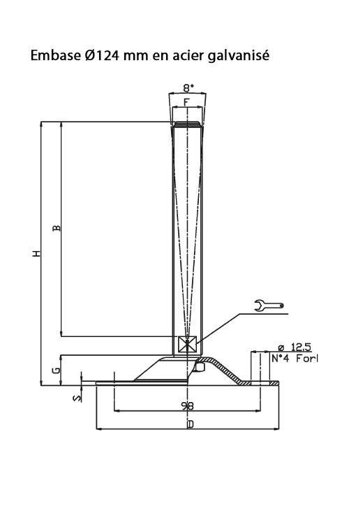 Pieds de mise à niveau  - Embase Ø 123 mm ou 124 mm en acier inoxydable