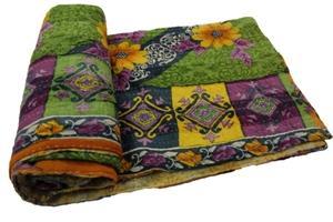 Indian Kantha Quilt Handmade Bedspread Blanket