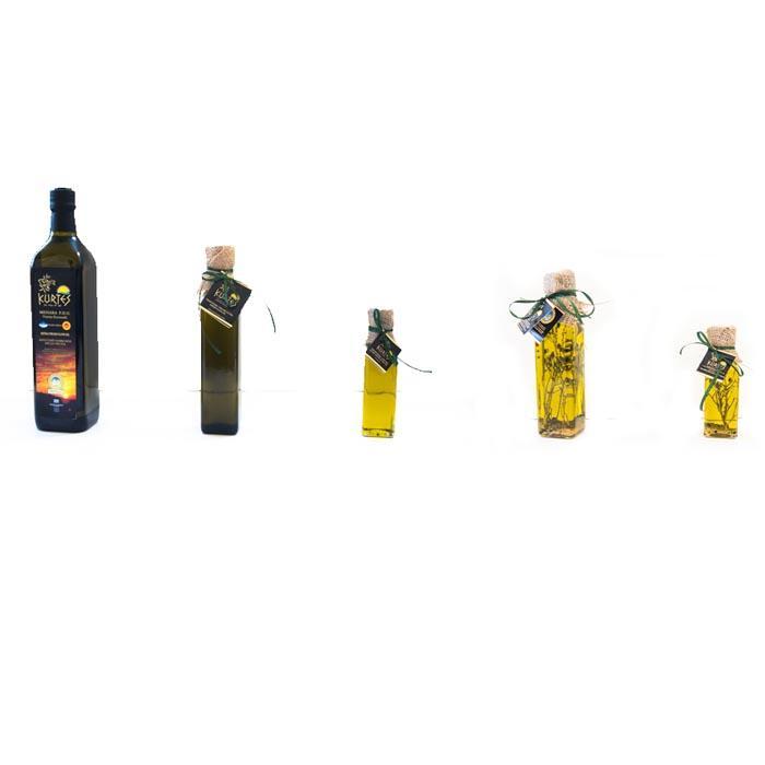 Extra Virgin Olive Oil in marasca bottles -
