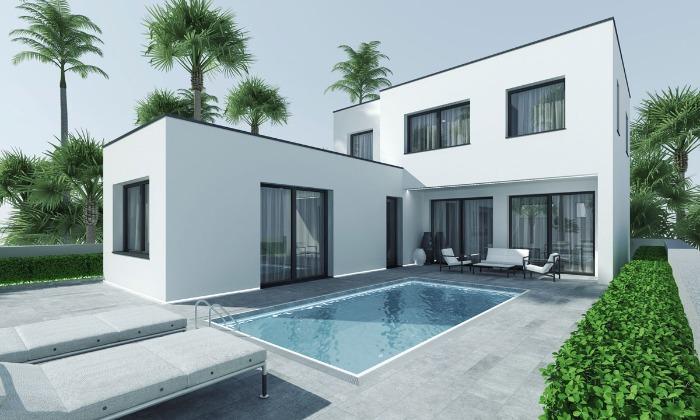Casa Prefabricada dos plantas con patio - Modelo TKMCS-207