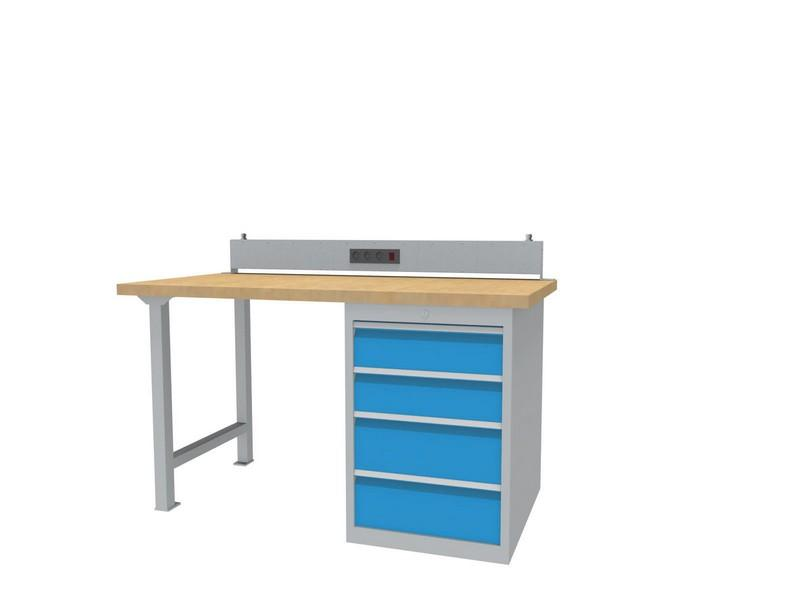 modular workbench with drawer cabinet with 4 drawers,... - 03.15.580.4VA