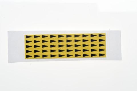 yellow Mini Arrows for fault markings of PCBs, 5 x 3 mm - yellow Mini Arrows, made from Steierform 87-60151