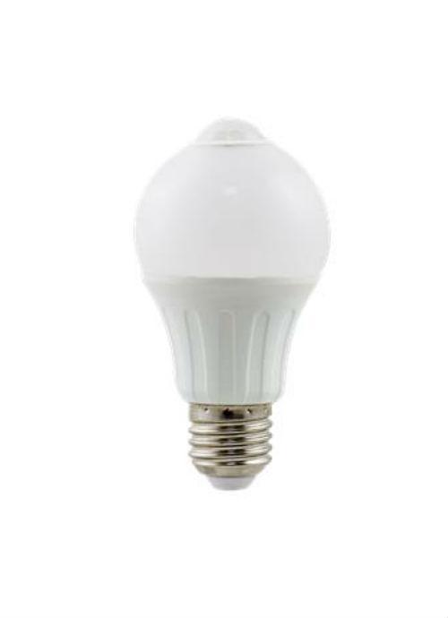 Lampadine LED E27 con sensore IR - 6W opaca 3000/6500K 450/480lm con sensore di movimento infrarossi