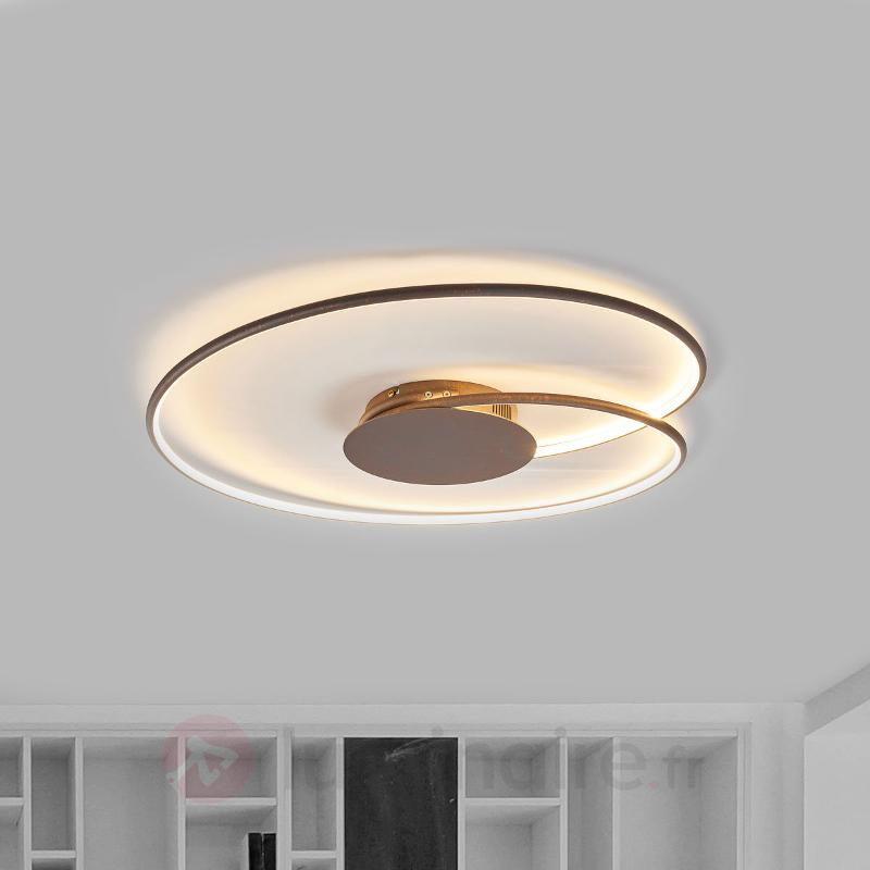 Ravissant plafonnier LED Joline en brun rouille - Plafonniers LED