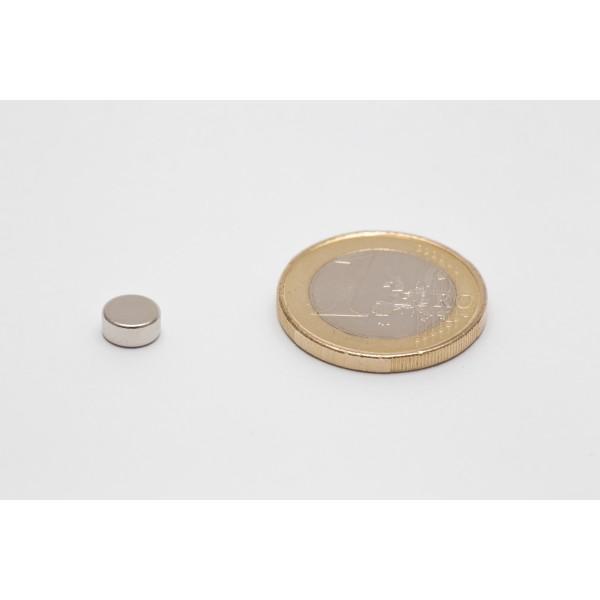 Neodymium disc magnet 6,5x3mm, N45, Ni-Cu-Ni, Nickel coated - Disc