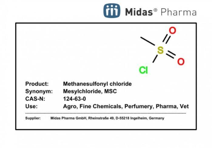 Methanesulfonyl chloride - MSC; Mesylchloride; 124-63-0;  Agro, Electro, Fine Chemicals, Perfumery, Pharma