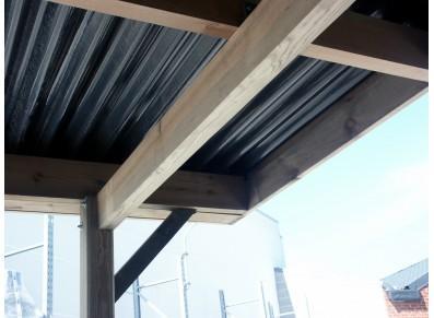 Carport en bois avec atelier - Toit plat