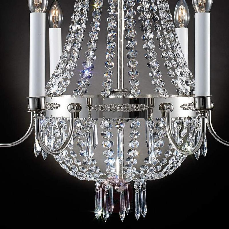 Empire Crystal Chandelier Six Bulbs Old Silver - Chandeliers