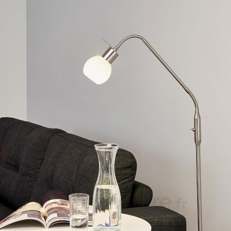 Fin lampadaire LED Elaina, nickel mat - Lampadaires LED