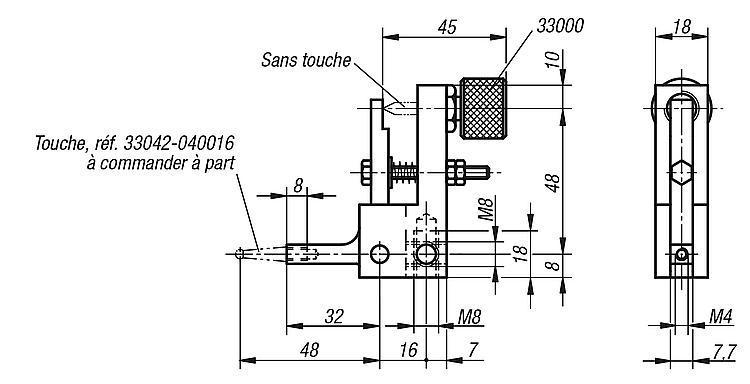 Renvoi à 90° pour comparateur - Eléments pour montage de contrôle