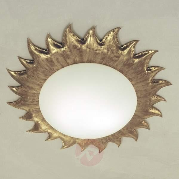 Golden ceiling lamp SONNE with matte opal glass - Ceiling Lights
