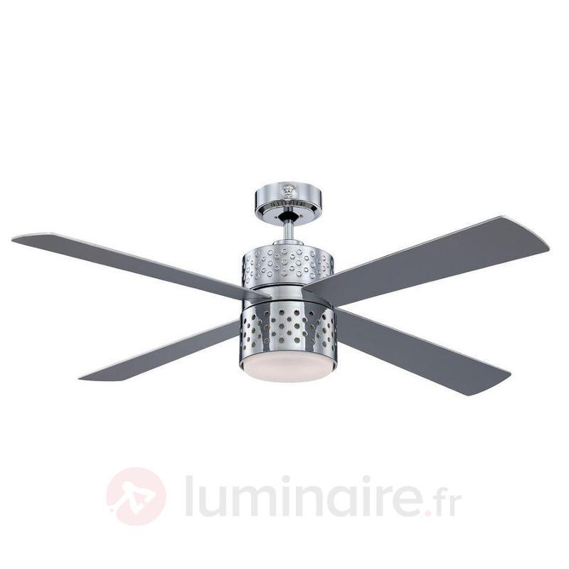 Ventilateur de plafond lumineux chromé Lenerco - Ventilateurs de plafond modernes