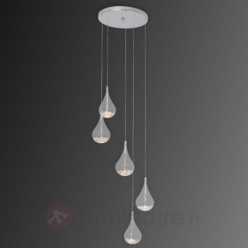 Suspension Maira décorative à cinq lampes - Suspensions en verre