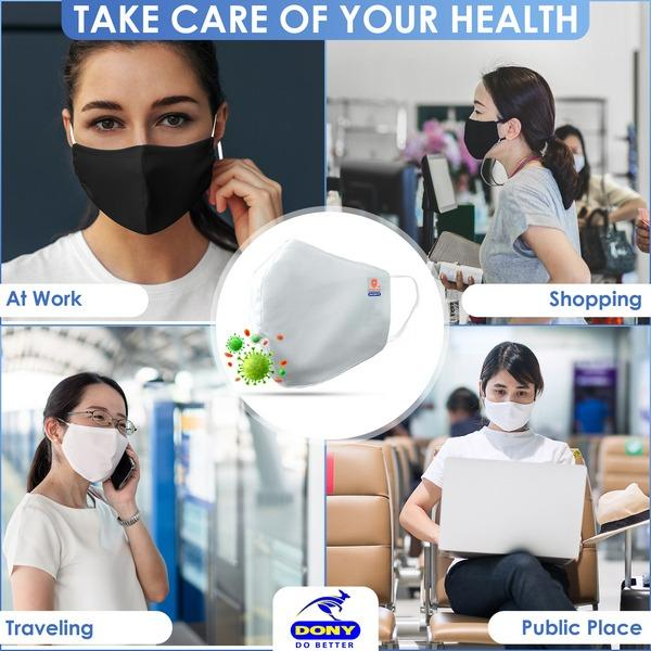 Antibacterial Reusable Cloth Face Mask - 3ply cover (FDA,CE) - Earloop washable cotton antivirus flu dustproof  civil fabric face covering