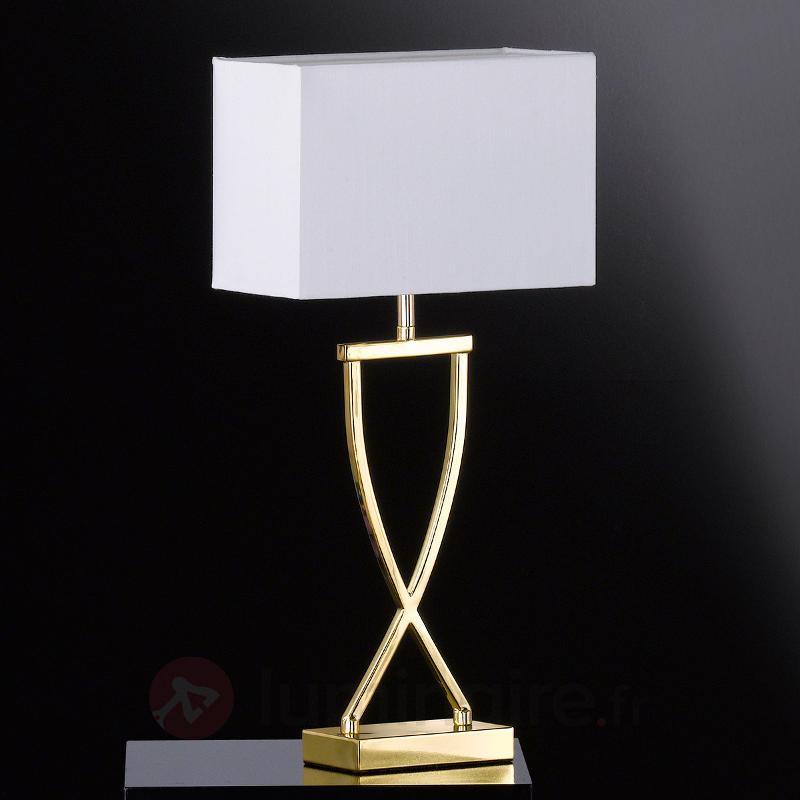 Lampe à poser textile Anni chromée-blanche - Lampes à poser en tissu