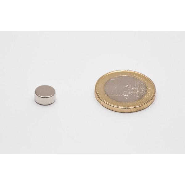 Neodymium disc magnet 8x4mm, N45, Ni-Cu-Ni, Nickel coated - Disc