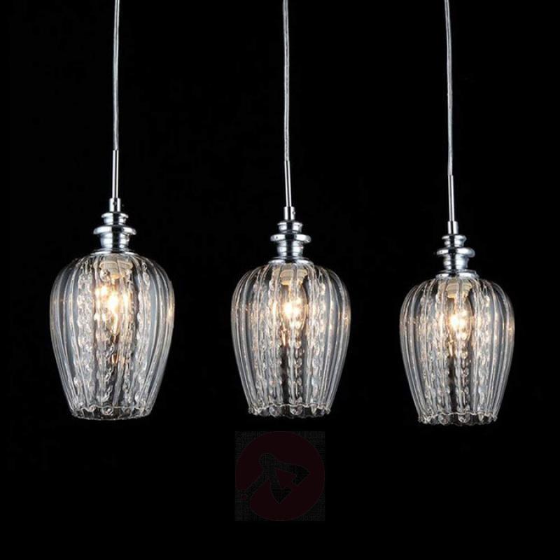 Blues hanging light with three glass shades - indoor-lighting