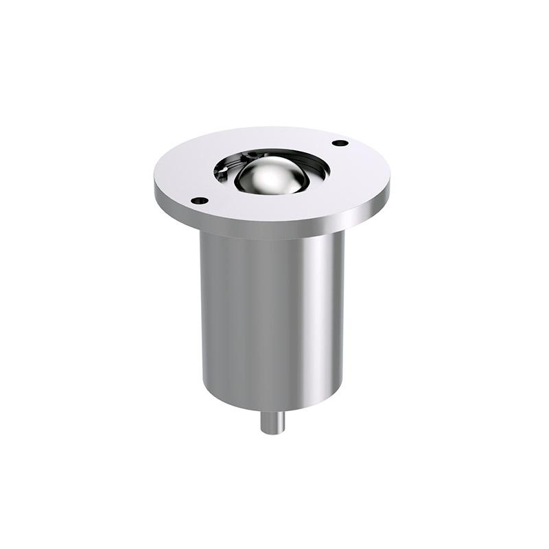 Solid ball caster with head flange and suspension - null