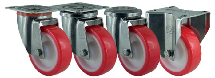 D-NAMIC - Wheels in Polyamide 6HD + red solid Polyurethane
