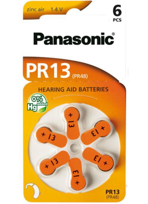 Batterie per apparecchi acustici PR13 – PR48 - Blister da 6 pile zinco aria 300 mAh