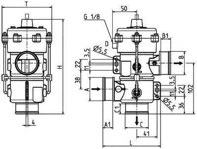 3/2-way drain valve, DN 40, vacuum controlled - 04.040.114