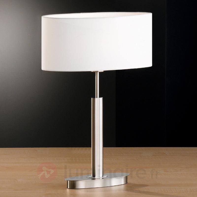 Lampe à poser ovale Finn avec abat-jour blanc - Lampes à poser en tissu