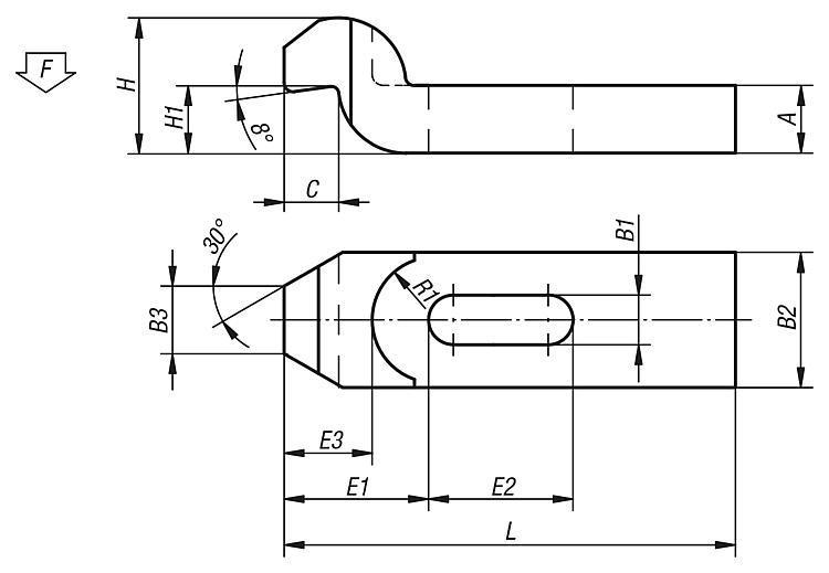 Bride coudée acier et aluminium DIN 6316 - Bride étagée