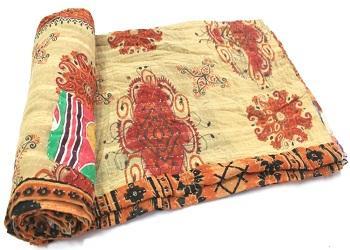 Indian Handmade  Kantha Quilt Gudri Reversible Throw