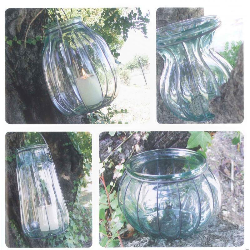 Lanterne ou vase FLORERO OVALADO, en verre et en fer 26 cm - Vases, Lanternes, décoration