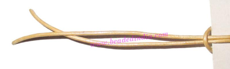 Leather Cords 0.5mm (half mm) round, metallic color - pale y - Leather Cords 0.5mm (half mm) round, metallic color - pale yellow.