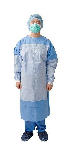 Vestido quirúrgico reforzado - Material: SMS / SMMS Spec: Puño de punto, velcro en el cuello y corbata en la ci