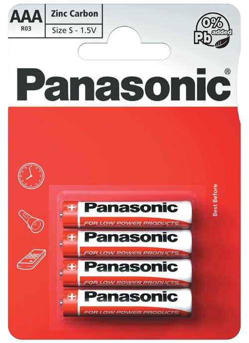 Batterie ministilo zinco carbone 4 pz - R03RZ/4BP | Blister da 4 pile AAA Panasonic