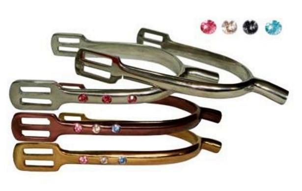 Stainless steel horse pow spur with 3 crystals  - Stainless steel horse pow spur with 3 crystals in assorted colours