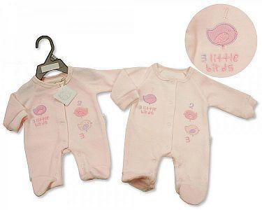 Premature Baby Girls Velour All in One - Little Birds -