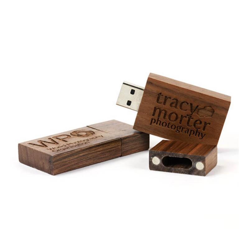 Clé USB Bois Carré Foncé - Clé USB Bois & Biodégradable