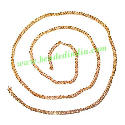 Gold Plated Metal Chain, size: 0.5x2mm, approx 77.8 meters i - Gold Plated Metal Chain, size: 0.5x2mm, approx 77.8 meters in a Kg.