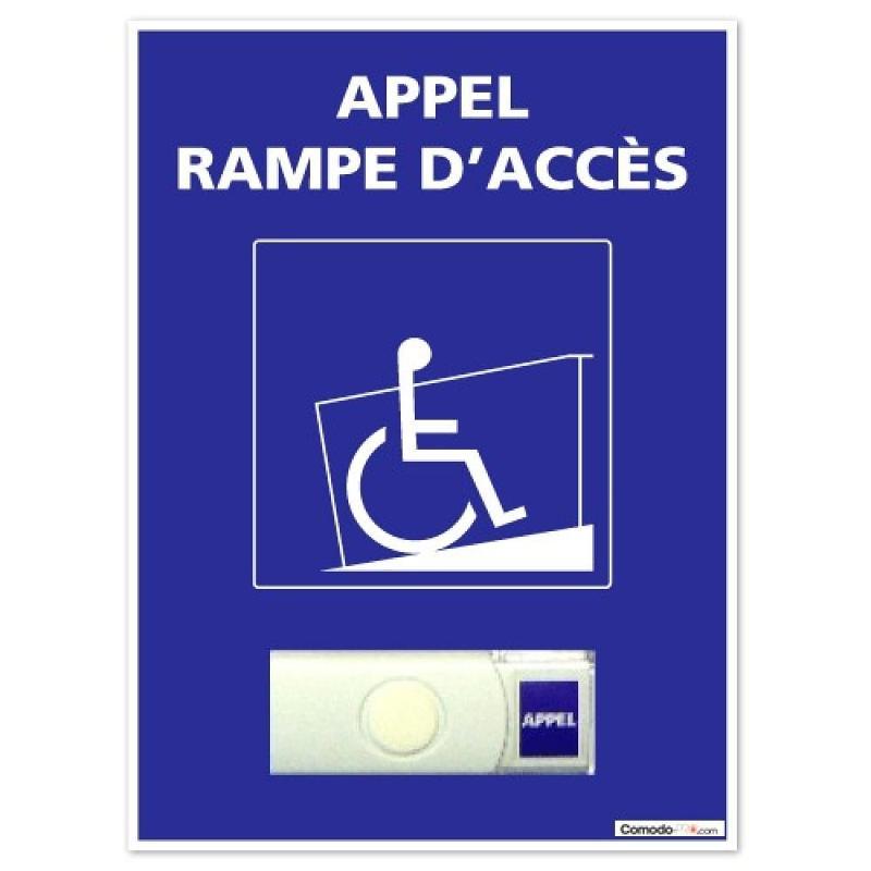 Sonnette handicapé sans fil + panneau PVC - Accessibilité handicapé