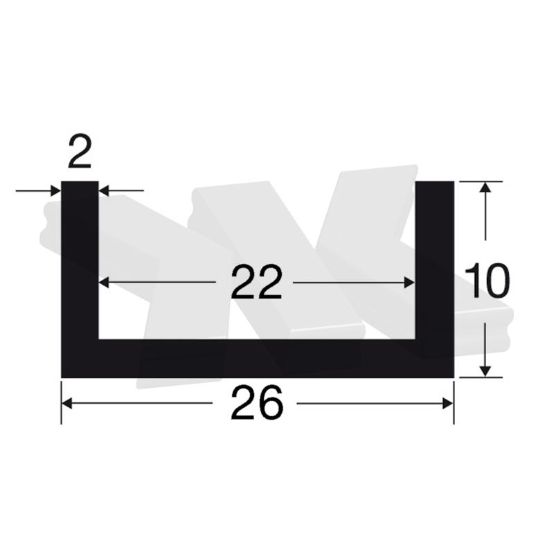 Glass edge protection profile 10x26x10x2mm, stainless steel effect - U-profiles