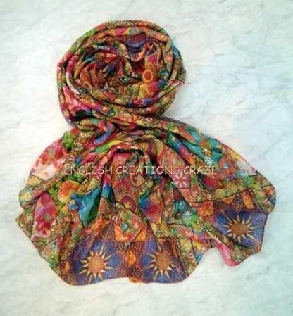 Polyester Jacquard Multi Color Shawls - Polyester Jacquard Multi Color Shawls